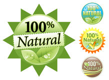 Green Organic 100% Natural Icon Set. Choose from four different 100% Natural Organic Icon sets. Some are green, brown, blue or yellow like the sun. Use it as a Royalty Free Stock Photo