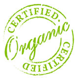 Green organic certified stamp. Eco product symbol, disstressed natural rubber stamp on white background. Sign of product fresh and healthy nature Stock Images