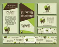 Green and organic corporate identity set template vector illustration