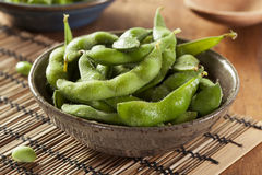 Green Organic Edamame with sea salt Royalty Free Stock Image