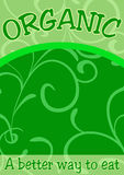 Green organic food. Green vector poster, tag, card or banner for organic food Royalty Free Stock Photography