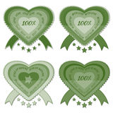Green 100% organic natural eco product labels Royalty Free Stock Photography