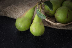 Green organic pears closeup background Royalty Free Stock Image