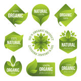 Green Organic Products Labels Stock Image