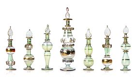 Green oriental perfume bottles Royalty Free Stock Image