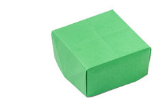 Green origami box over white background Stock Photo
