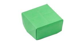 Green origami box over white background Stock Photo