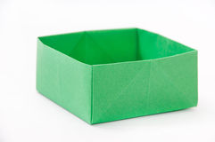 Green origami box on the white background Stock Images