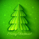 Green origami Christmas tree greeting card Royalty Free Stock Image