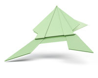 Green origami frog  on white background. 3d render image.  Royalty Free Stock Photography