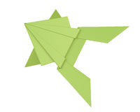 Green origami frog  on white background. 3d rendering Stock Photos