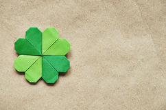 Green origami paper shamrock Royalty Free Stock Image