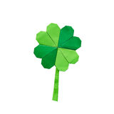Green origami paper shamrock clover leaf Royalty Free Stock Image
