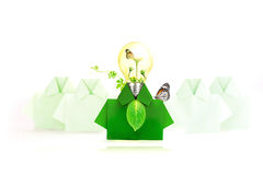 Green origami shirt paper Light bulb with flower tree and butter Stock Photo