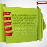 Green origami website template design Royalty Free Stock Image