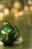 Green Ornament on Gold Background Stock Photos