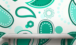 Green ornament wallpaper wall texture in background. White wooden table with legs and free space Royalty Free Stock Photo
