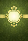 Green ornamental pattern. Luxury gold frame on a green ornamental pattern Royalty Free Stock Image