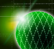 Green Ornamented Sphere Background Shows Stock Photo