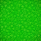 Green ornate Christmas symbols seamless pattern Royalty Free Stock Photos