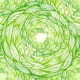 Green ornate doodle foliage circle seamless Stock Image