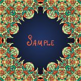 Green ornate frame with  paisley pattern. Vector Royalty Free Stock Images