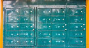 Green outdoor metal lockers Stock Photos