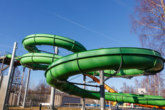 Green outdoors waterslide Royalty Free Stock Image