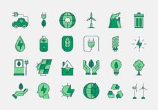 Green outline ECO icons. Vector set of 24 green outline icons. Ecology, eco system, future technology of saving resources and clean planet Royalty Free Stock Photo