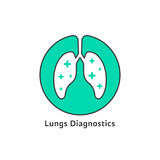 Green outline lungs diagnostics with cross vector illustration