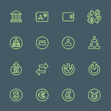 Green outline various financial banking icons set. Vector light green outline various financial banking icons set on dark background Stock Photography