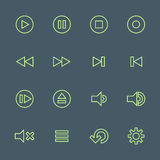 Green outline various media player icons set. Vector light green outline various media player icons set on dark background Royalty Free Stock Image
