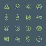 Green outline various social network actions icons set Stock Photos