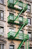 Green outside metal fire escape stairs, New York Royalty Free Stock Images