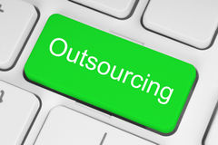 Green outsourcing button Royalty Free Stock Images