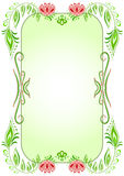 Green oval vertical floral frame Royalty Free Stock Photography