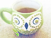 Green owl mug with tea watercolor still life illustration Stock Image