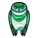 Green Owl in Stained Glass Style Stock Image