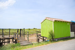 Green Oyster cabine from fisherman Royalty Free Stock Images