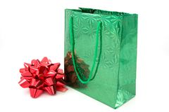 Green package and  bow Royalty Free Stock Image