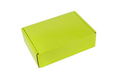 Green packaging box, studio photography of green box isolated on Royalty Free Stock Image