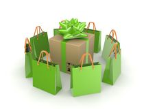 Green packets around big carton box. Royalty Free Stock Photos