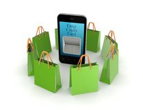 Green packets around mobile phone. Stock Photos