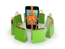 Green packets around mobile phone. Stock Images