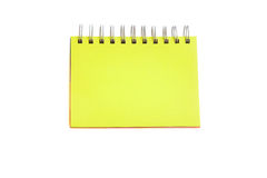 Green page of notebook. Blank Yellow page of notebook isolated on white background Royalty Free Stock Photos