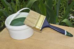 Green paint. Capacity with a green paint and a new brush Stock Image