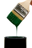 Green paint and brush Royalty Free Stock Photo