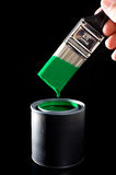 Green Paint and Brush Stock Photography