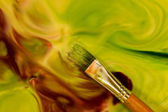 Green Paint Brush Stock Image
