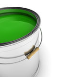 Green paint can. Paint can with green color over white background Royalty Free Stock Image